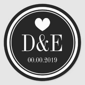 Black and white monogram wedding favor stickers