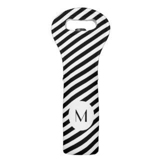 Black And White Monogram Wine Bag