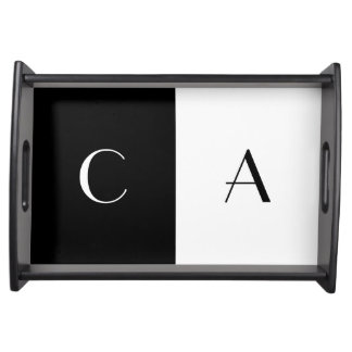 Black and White Monogrammed Serving Tray