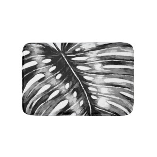 Black and white monstera palm leaf tropical bath mat