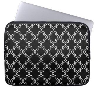 Black and White Moroccan Quatrefoil Laptop Sleeve