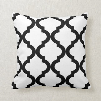 Black and White Moroccan Quatrefoil Throw Cushion