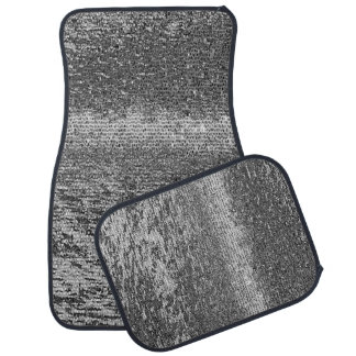 Black and white mosaic pattern car mat