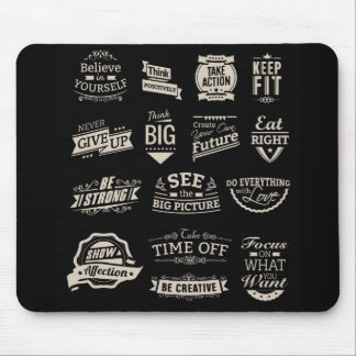 Black and White Motivational Badges Mouse Pad