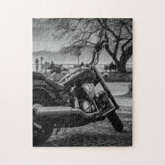 Black and White, Motorbike. Jigsaw Puzzle