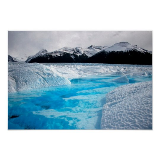 Black and White Mountains with Blue Ice Poster