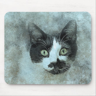 Black and White Mouser | Abstract | Watercolor Mouse Mat