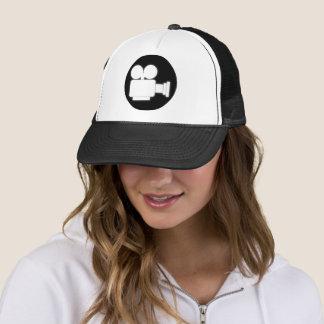 BLACK AND WHITE MOVIE CAMERA ICON TRUCKER HAT