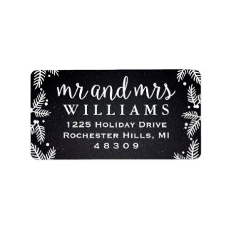 Black and White Mr and Mrs   Holiday Address Label