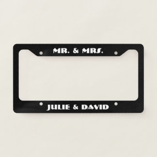 Black and White Mr. and Mrs. License Plate Frame