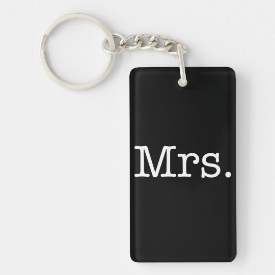 Black and White Mrs. Wedding Anniversary Quote Key Ring