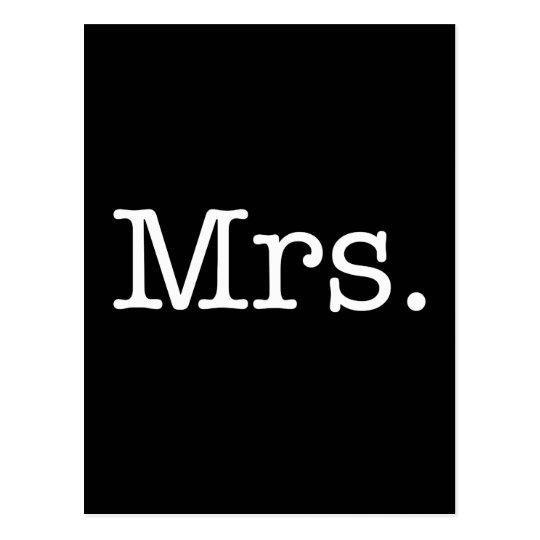 Black and White Mrs. Wedding Anniversary Quote Postcard