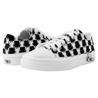 Black and White Music Headphones Checkerboard Low Tops