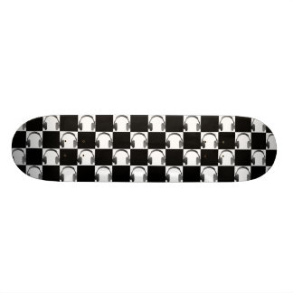 Black and White Music Headphones Mosaic Pattern 20.6 Cm Skateboard Deck