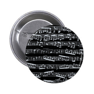 Black and white music notes buttons