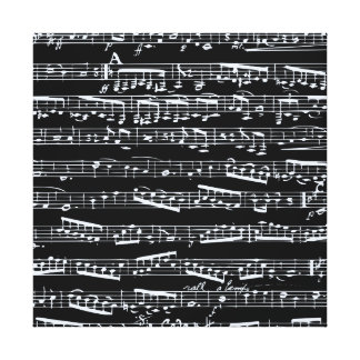 Black and white music notes gallery wrap canvas