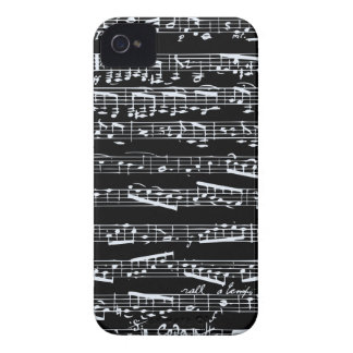 Black and white music notes iPhone 4 case