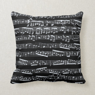 Black and white music notes cushion