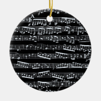 Black and white music notes christmas tree ornament