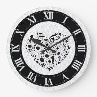 Black and White Music Notes Heart Wall Clock
