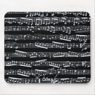 Black and white music notes mouse mat