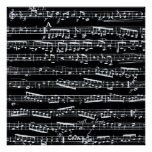 Black and white music notes print