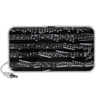 Black and white music notes travelling speaker