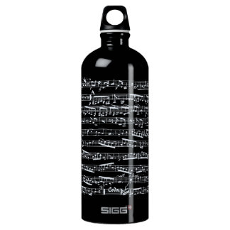 Black and white music notes water bottle