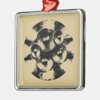 Black and white music speakers in a circle christmas ornament