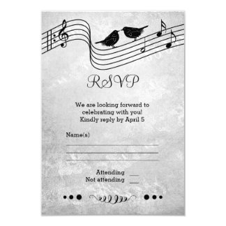 Black and White Music Themed Wedding RSVP Card 9 Cm X 13 Cm Invitation Card