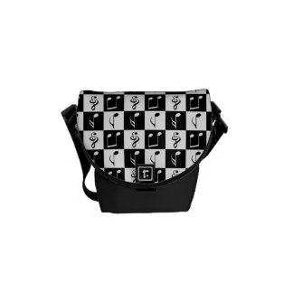 Black and White Musical Checker Pattern Messenger Bags