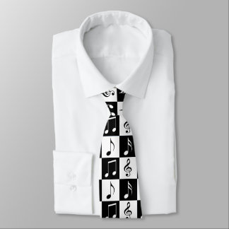 Black and White Musical Checker Tie