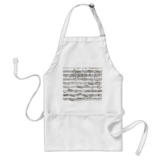 Black and white musical notes standard apron