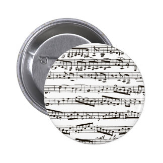 Black and white musical notes 6 cm round badge
