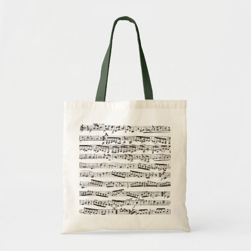 Black and white musical notes tote bags