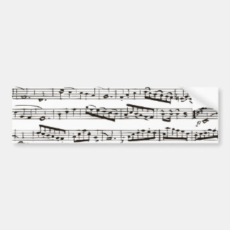 Black and white musical notes bumper sticker