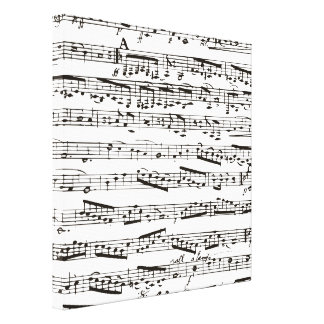 Black and white musical notes gallery wrap canvas