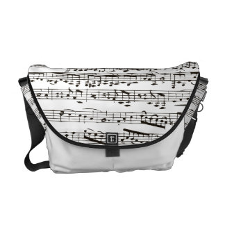 Black and white musical notes courier bag
