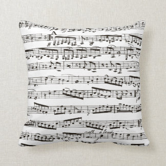 Black and white musical notes cushion