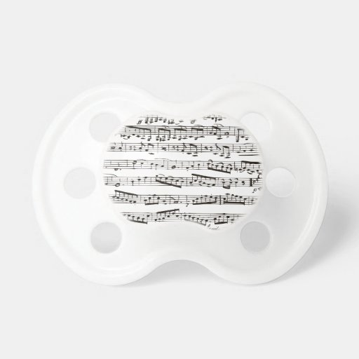 Black and white musical notes pacifier