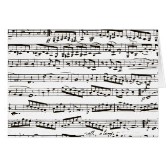 Black and white musical notes greeting card