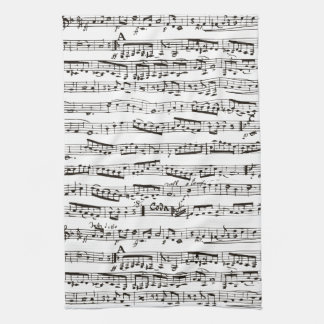 Black and white musical notes hand towels