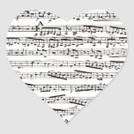 Black and white musical notes heart sticker