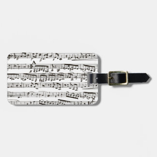 Black and white musical notes luggage tag