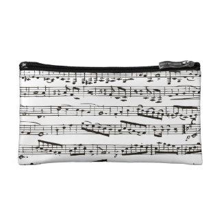 Black and white musical notes makeup bag