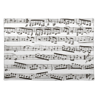 Black and white musical notes placemat
