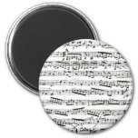 Black and white musical notes refrigerator magnets