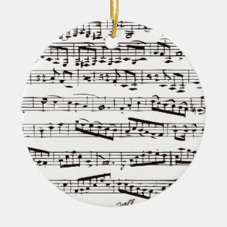 Black and white musical notes round ceramic decoration