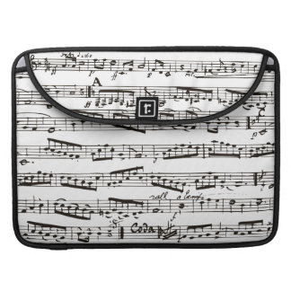 Black and white musical notes sleeve for MacBooks