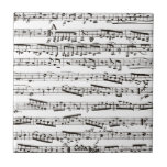 Black and white musical notes small square tile